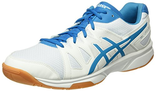 Asics Herren Gel-Upcourt Badminton Schuhe, Mehrfarbig (White / Blue Jewel / White), 49 EU