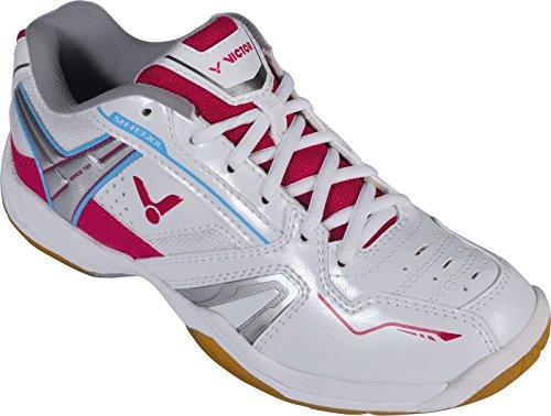 VICTOR SH-A320L Damenschuh / Indoor Sportschuh / Badmintonschuh / Squashschuh / Hallenschuh, Weiß/Pink, Größe 38