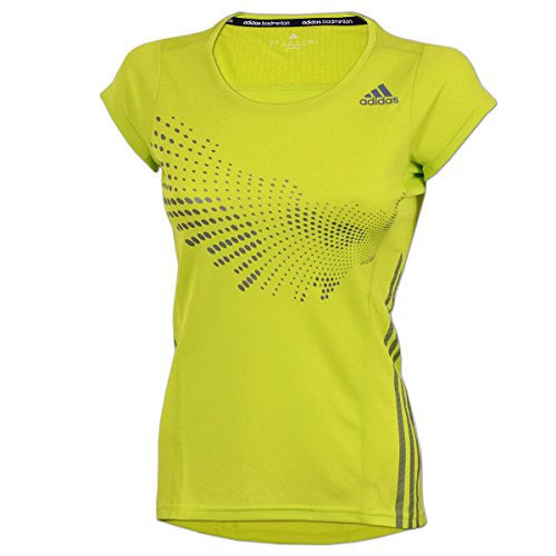 adidas Damen BT Graphic Shirt Sportshirt Badminton Fitness (semi solar yellow, M)
