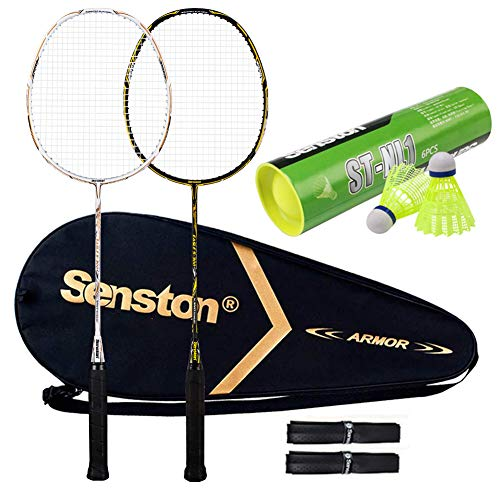 Senston S300 100% Graphit Badminton Set mit Schlägertasche und 6 Stück Nylon Federbälle